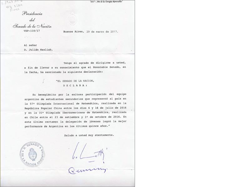 Reconocimiento del Senado de la Nación al equipo argentino que participo de la 31° Olimpíada Iberoamericana de Matemática